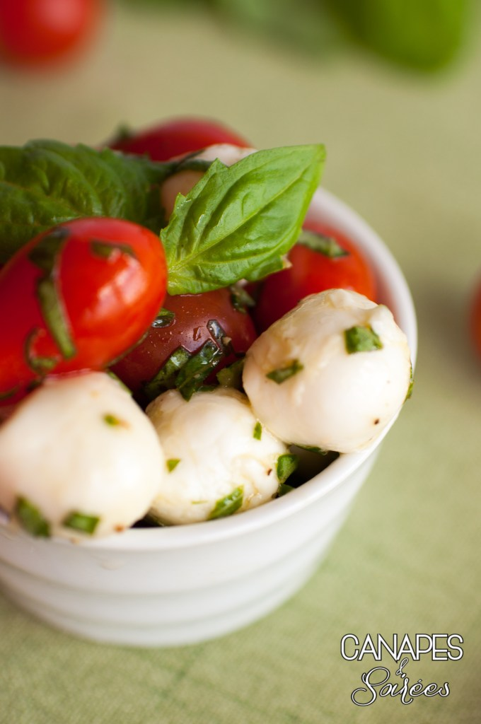 Close up bowl of Caprese Salad