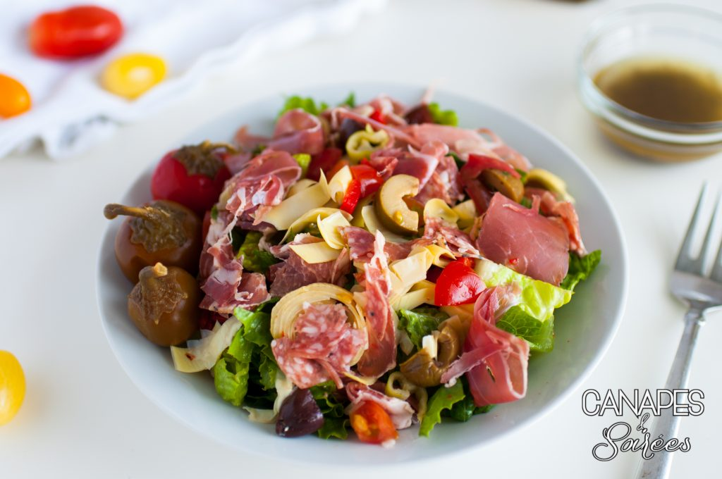 Plated Low Carb and Whole30 Antipasto Salad