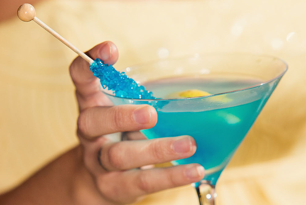 Wedding Signature Lemon Drop Martini with Blue Rock Candy