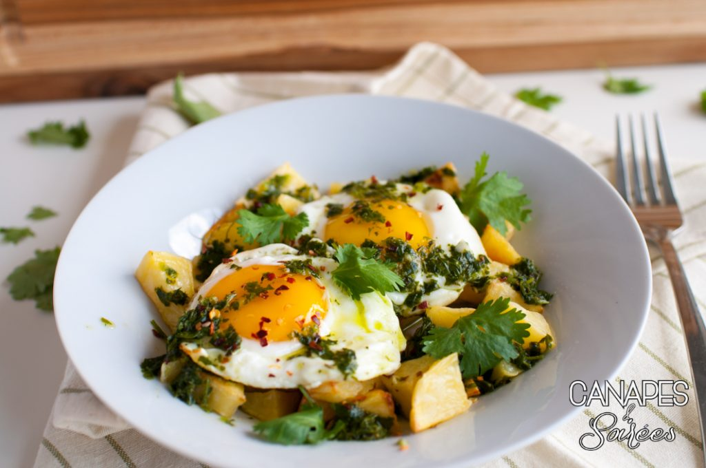 Roasted Potatoes with Fried Eggs and Chimichurri - Whole30 Breakfast