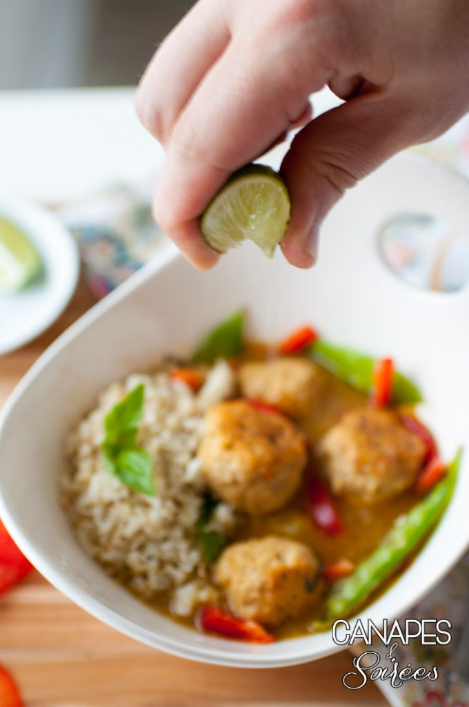 Lime and Green Curry Chicken Meatballs