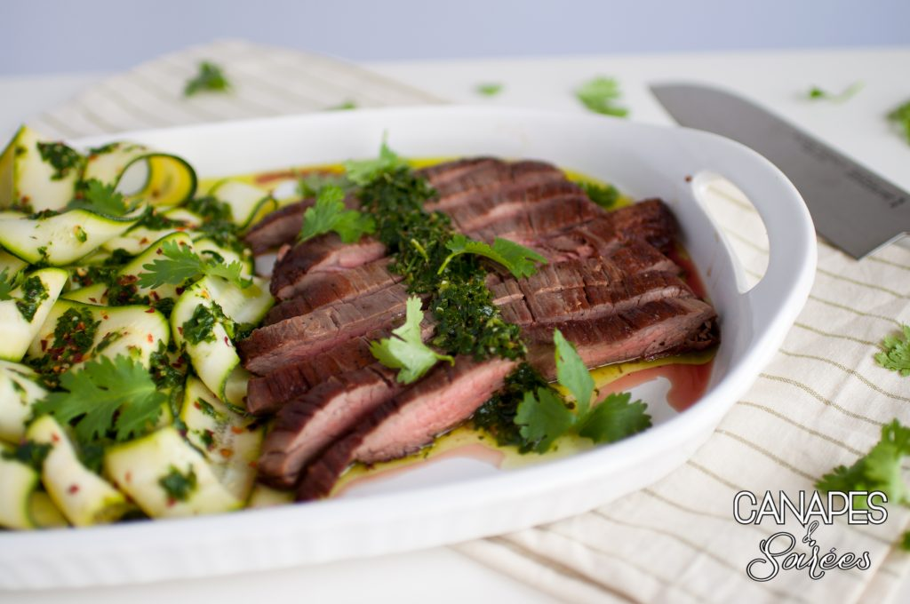 Seared Flank Steak with Chimichurri and Zucchini Ribbons