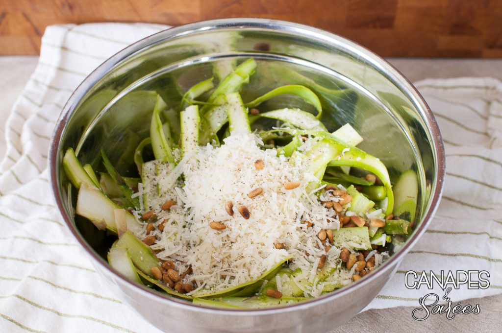 Bowl of Shaved Asparagus before it's mixed