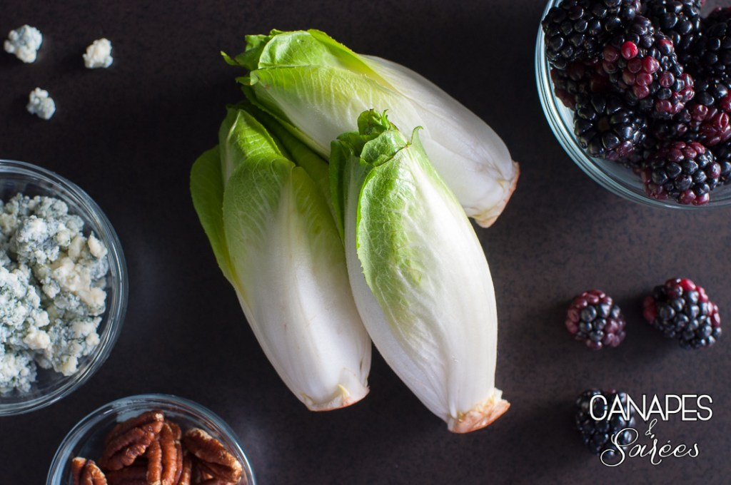 Ingredients for Blackberry Blue Cheese Endive Boats