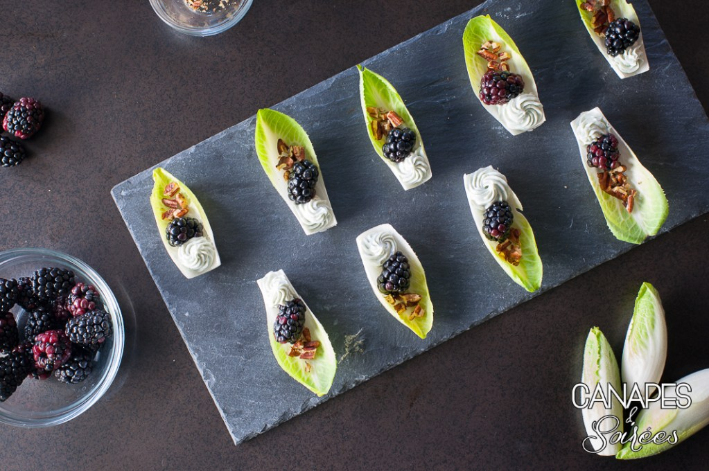 Blackberry Blue Cheese Endive Boats