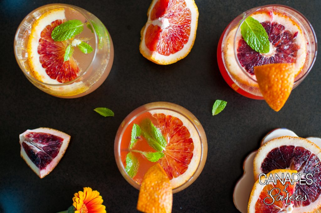 Three blood orange mimosas