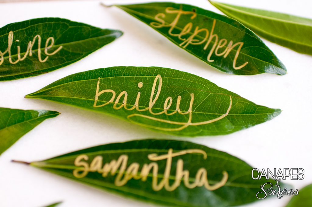 Leaf Place Cards with Gold Writing