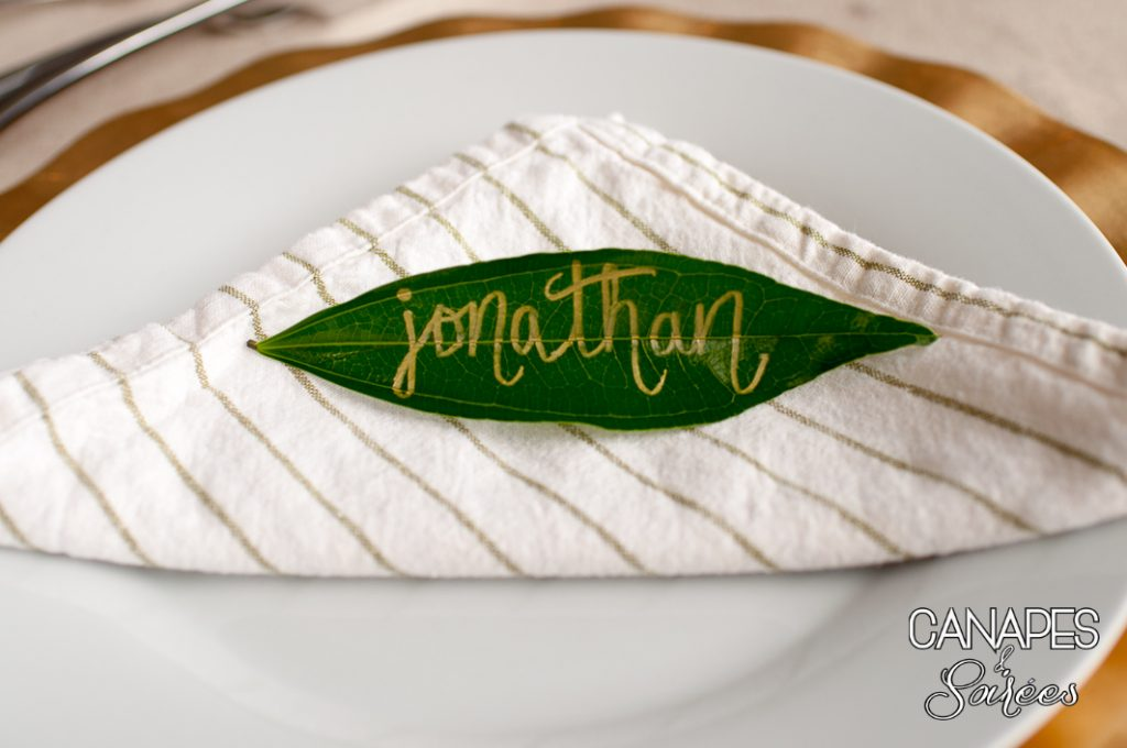 Leaf Place Card on a Plate