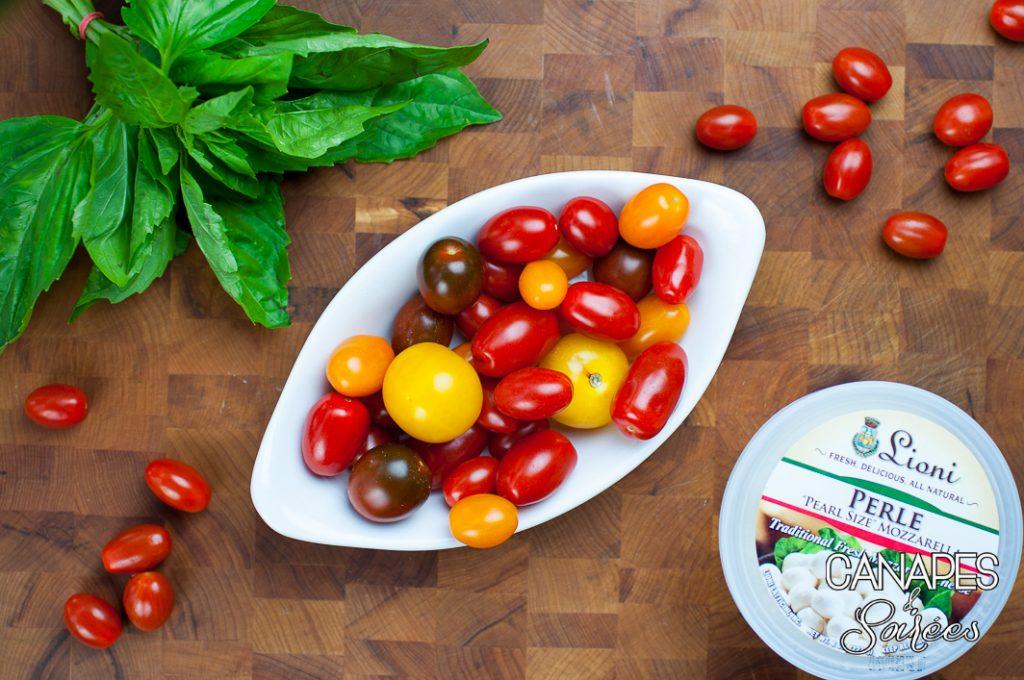 Ingredients to make Tomato Basil Mozzarella Canapés