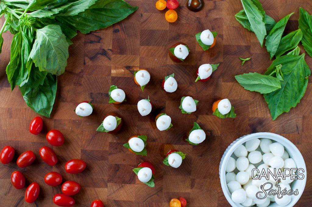 Tomato Basil Mozzarella Canapé Assembly