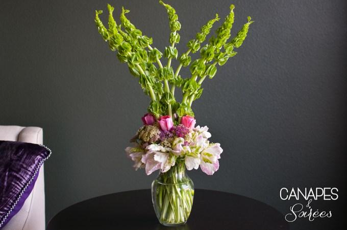 A tall spring floral arrangement