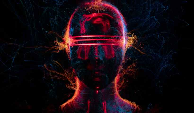 man with red and blue light