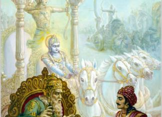 Dhrtarastra consultando a Sanjaya