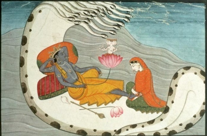 Vishnu reveered by lakshmi