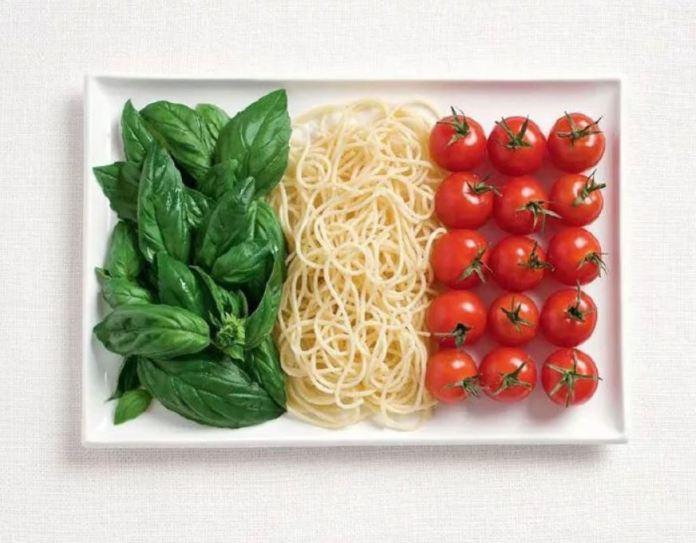 Bandera Italia - Albahaca, Espaguetti y Tomates
