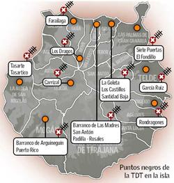 Puntos negros de la TDT en Gran Canaria / Infografía de Canarias7.es.