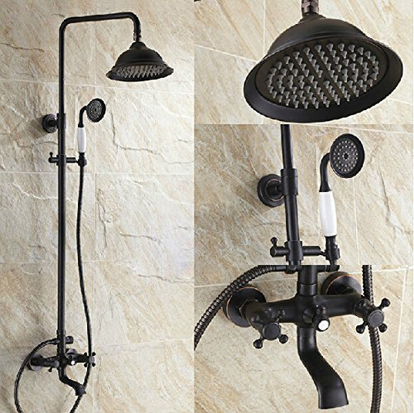 retro style exposed bathroom rainfall shower faucet set w hand sprayer tub mixer tap oil rubbed bronze wish