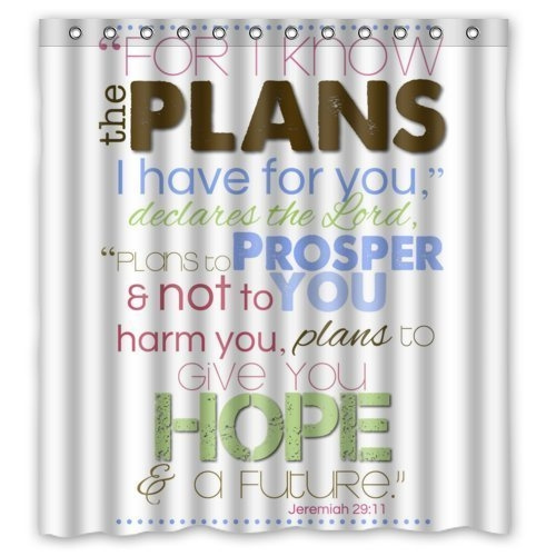 66 w x 72 h bible verse shower curtain jeremiah 29 11 for i know the plans i have for you pattern 100 polyester bathroom shower curtain shower