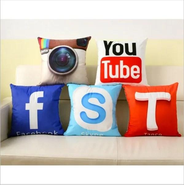hot app design cushion cover facebook youtube skype media logo pillow covers sofa decor upscale peach skin velvet pillowcase without pillow core