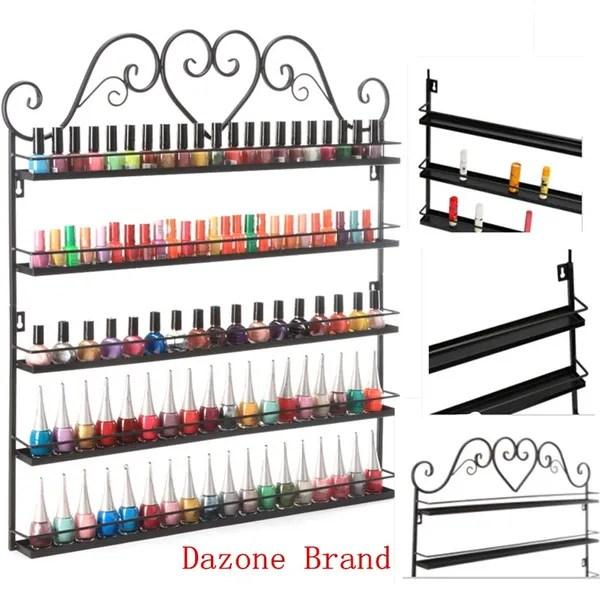 5 tier hanging nail polish wall rack mounted shelf display wrought iron organizer make up holder up to 128 bottles dazone wish