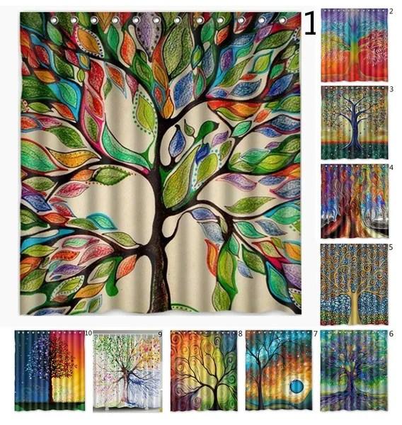 custom art print tree tree of life shower curtain bathroom decorated curtains 66 x 72 inches wish