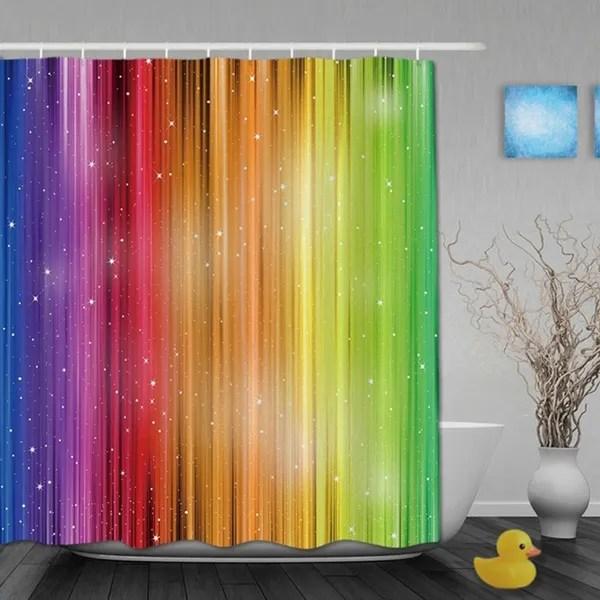 magic striped rainbow shower curtains waterproof fabric bathroom curtain with 12pc hooks wish