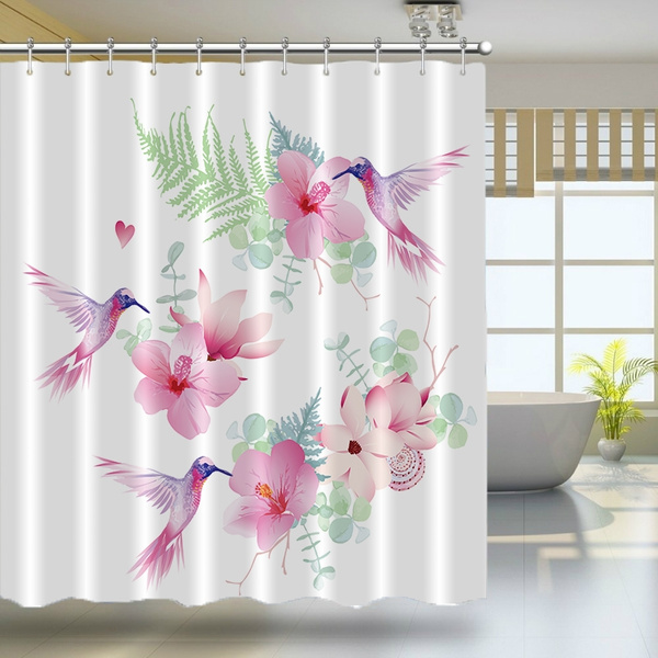 floral shower curtain set hummingbirds decor tropical flowers with flying hummingbirds wild nature branches bathroom accessories with hooks