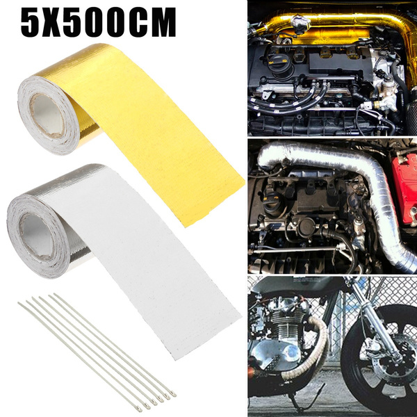 5m high heat insulation aluminium foil wrap exhaust pipe tape wrap cloth for car motorcycle wish