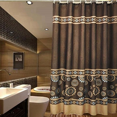 ufaitheart bathroom fabric shower curtain sets 72 x 75 mildew free water repellent polyester fabric curtains coffee chocolate brown deep gold blue