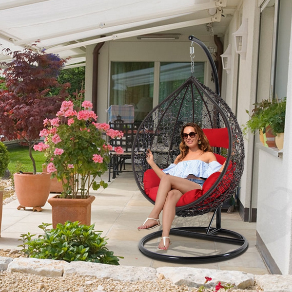 dubai luxury heavy duty outdoor rattan hanging egg chair wicker swing chair patio pod egg shape chair free cover free local pick up 6 color