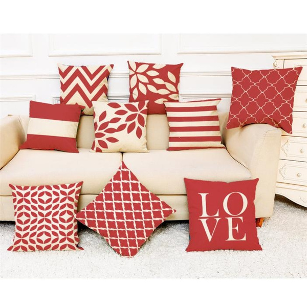 hot sale home decor cushion cover red geometric throw pillowcase pillow covers wish