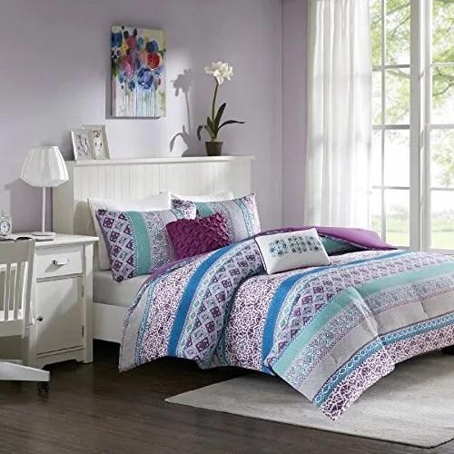 teen bedding for girls comforter set full queen twin purple blue turquoise dorm room bedspread bundle includes bonus sleep mask from designer home