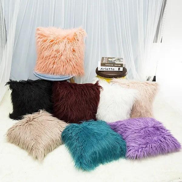 super soft plush faux fur pillow case sofa waist throw cushion cover home decor long fluffy pillow case soft comfort home bed sofa 8 colors wish