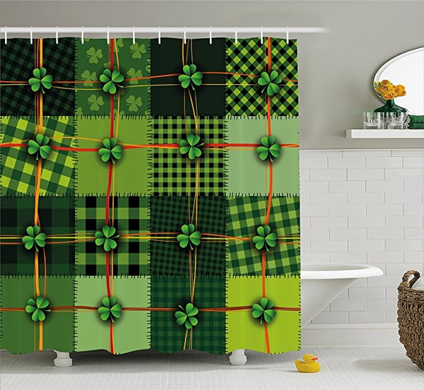 irish shower curtain by patchwork style st patrick s day themed celtic quilt cultural checkered with clovers fabric bathroom decor set with hooks