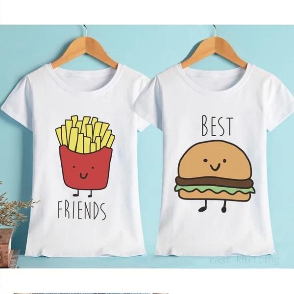 Food Friends Shirt Burger Fries Best Friend T Shirt Ladies Cool T Shirts Women Clothes High Quality Trendy Birthday Shirt Tees Wish