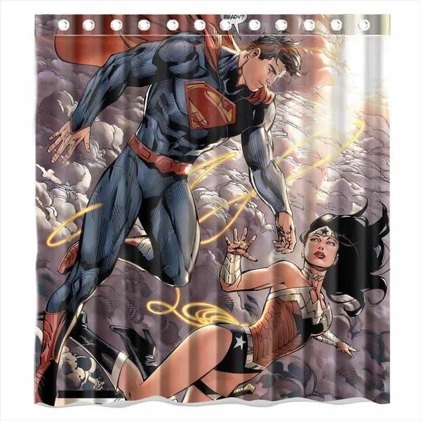 custom superman and wonder woman waterproof bathroom shower curtain polyester fabric shower curtain size 66 x 72 wish