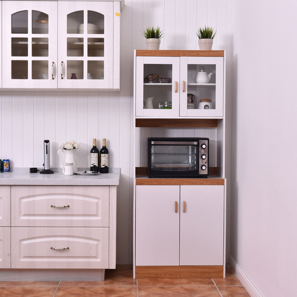 tall microwave cart stand kitchen storage cabinet shelves pantry cupboard white wish