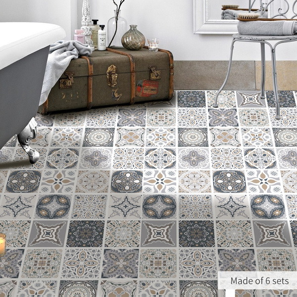 vinyl tiles sticker home decor living room kitchen bath room floor tiles wall paper tile decals peel and stick tiles self adhesive stereograph 23 61