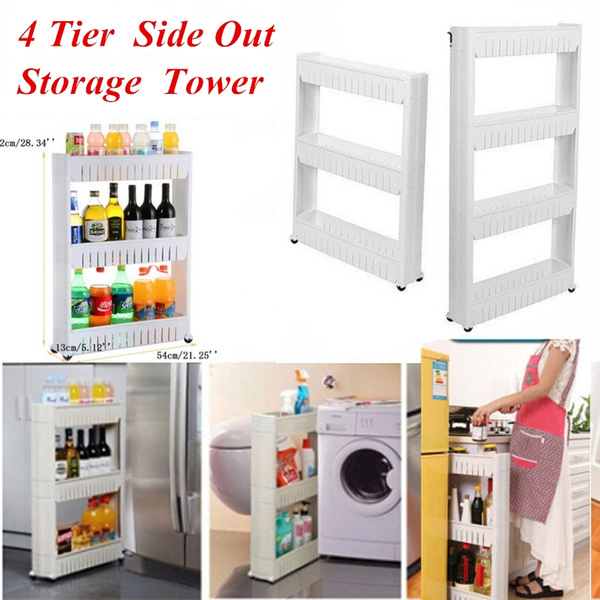 4 tier slide out storage tower rolling castor kitchen trolley spice rack refrigerator side shelf wish