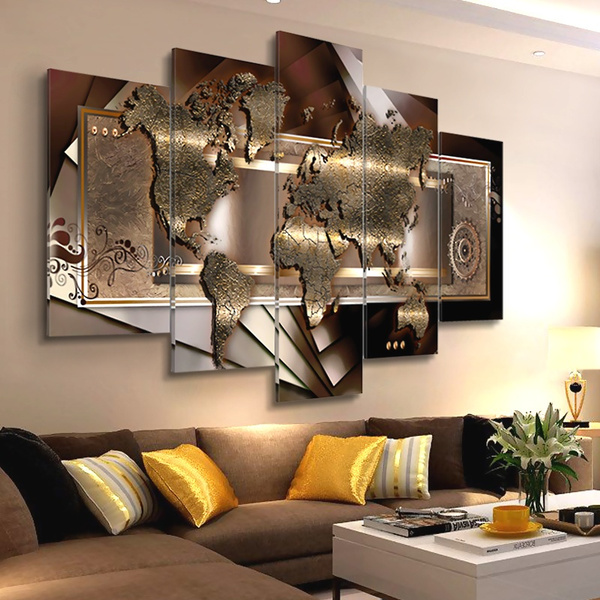 Canvas Art World Map Painting 5panel Canvas Print Modern Picture Wall Art Decor Home Abstract World Map Unframed Wish