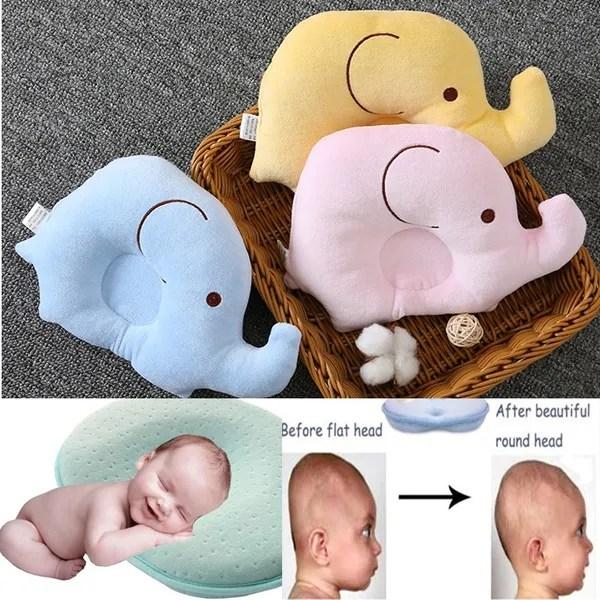 elephant pillow baby pillow velvet pillow soft infant baby pillow prevent flat head memory foam cushion sleeping support wish