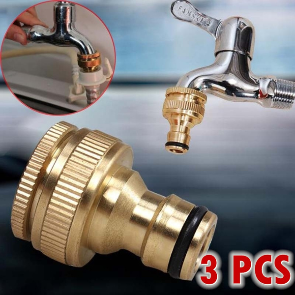 3 pcs brass hose tap connector 1 2 inch 3 4 inch garden water hose adapter thread pipe tap faucet connector adapter wish