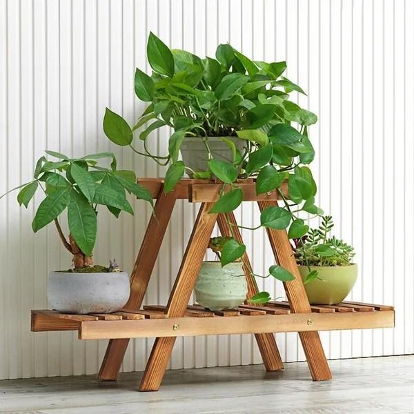 pinewood shelf garden indoor outdoor patio flower pot plant shelves stand rack wish