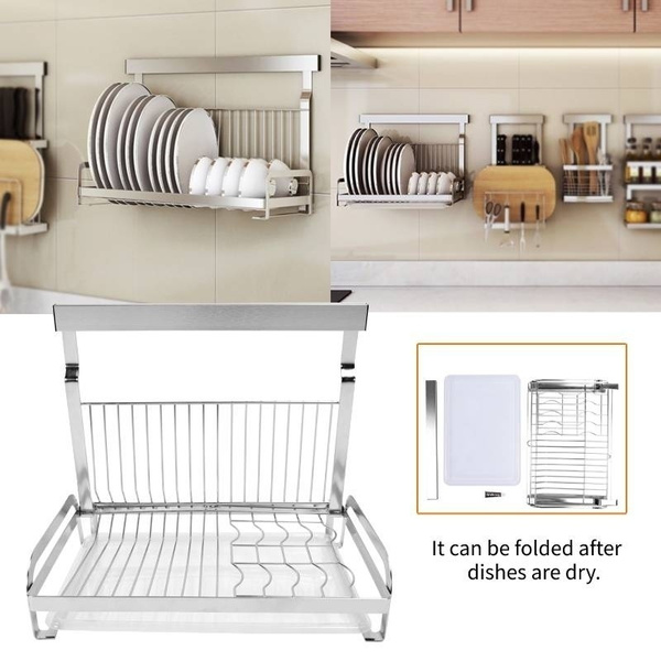 stainless steel wall mount drainer dish drying rack kitchen storage wish
