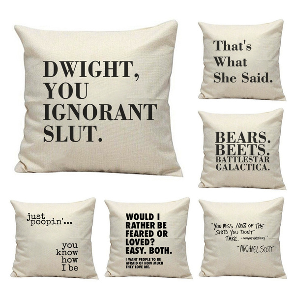the office tv show pillow cover dwight you ignorant pillow case linen cotton michael scott quote cushion cover best friend gift funny pillow case