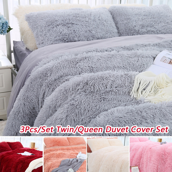 3pcs set luxurious plush faux fur bedding sets velvet winter duvet cover with pillowcase set wish