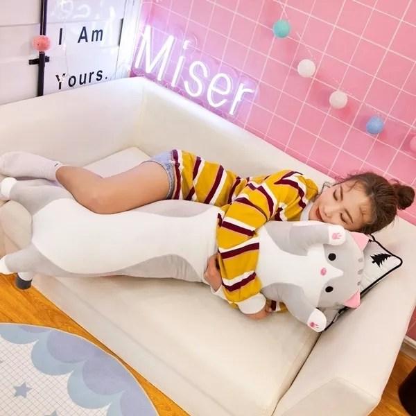 1pc long cat pillow cartoon lazy cat sleep pillow cat plush toy wish