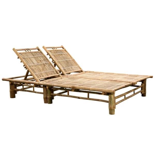 vidaxl 2 person sun lounger reclinable bamboo garden patio seating sun bed wish