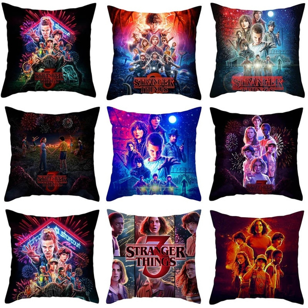 new stranger things 3 peach skin printing throw pillow cases sofa cushion cover 45x45cm 18x18in only cover wish