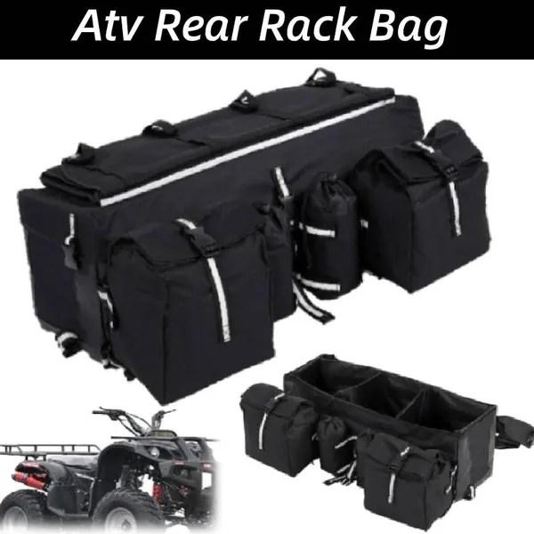 universal atv rack rear padded storage cargo luggage gear bag seat wish